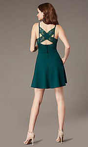 Image of short evergreen homecoming dress with pockets. Style: SS-D77562DNE Front Image