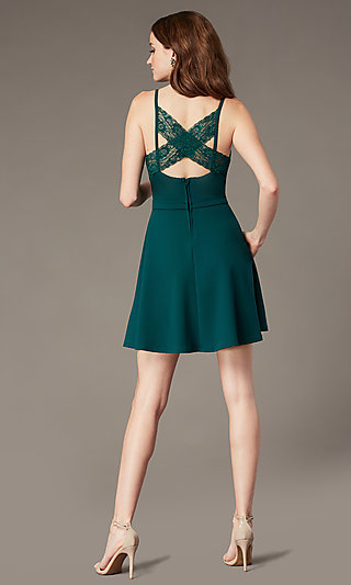 Short Evergreen Homecoming Dress with Pockets
