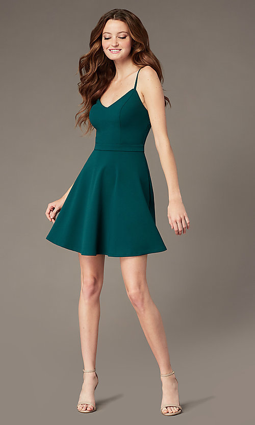 Image of short evergreen homecoming dress with pockets. Style: SS-D77562DNE Back Image