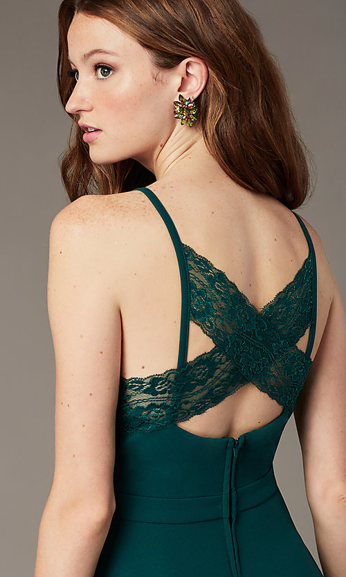 Image of short evergreen homecoming dress with pockets. Style: SS-D77562DNE Detail Image 1