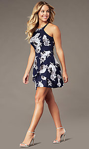 Image of short floral-print tiered homecoming dress. Style: SS-D79221DB46 Detail Image 2
