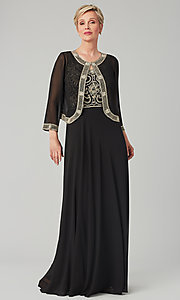Image of long formal MOB dress with matching jacket. Style: JKA-5461 Front Image
