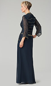 Image of long navy mother-of-the-bride gown with beading. Style: JKA-5108 Back Image