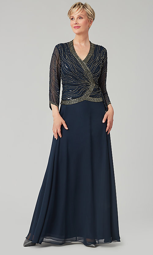 Image of long navy mother-of-the-bride gown with beading. Style: JKA-5108 Front Image
