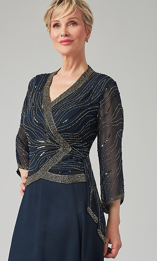 Image of long navy mother-of-the-bride gown with beading. Style: JKA-5108 Detail Image 1