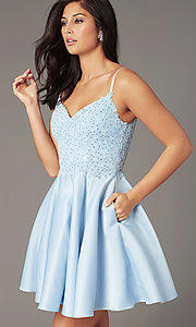 Image of short a-line pale blue hoco dress by PromGirl. Style: DQ-PL-3037 Front Image