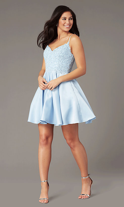 purchase newest limited price hot-selling newest Short A-Line Pale Blue Hoco Dress by PromGirl