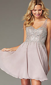 Image of flared short homecoming dress with jeweled bodice. Style: DQ-3129 Front Image