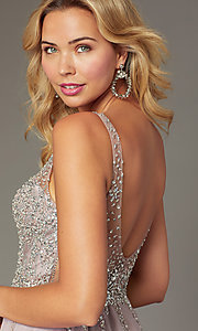Image of flared short homecoming dress with jeweled bodice. Style: DQ-3129 Back Image