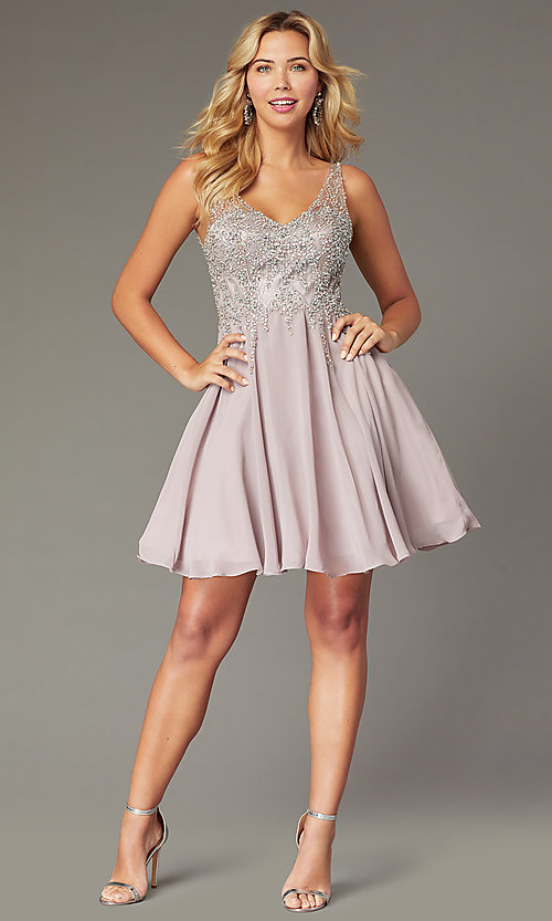 Image of flared short homecoming dress with jeweled bodice. Style: DQ-3129 Detail Image 1