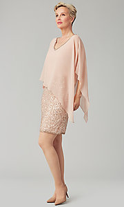 Image of short sequin MOB dress with attached capelet. Style: JKA-5235 Front Image