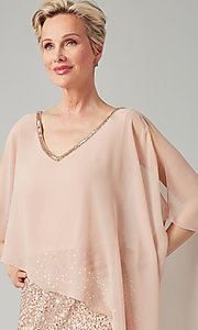 Image of short sequin MOB dress with attached capelet. Style: JKA-5235 Detail Image 1