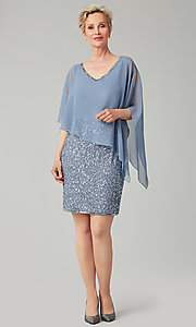 Image of short sequin MOB dress with attached capelet. Style: JKA-5235 Detail Image 2