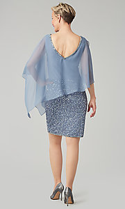 Image of short sequin MOB dress with attached capelet. Style: JKA-5235 Detail Image 3