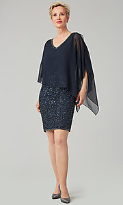 Image of short sequin MOB dress with attached capelet. Style: JKA-5235 Detail Image 5