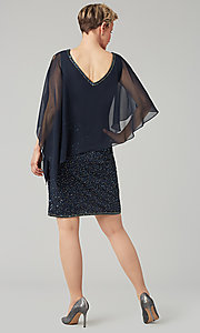 Image of short sequin MOB dress with attached capelet. Style: JKA-5235 Detail Image 6