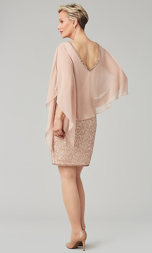 Image of short sequin MOB dress with attached capelet. Style: JKA-5235 Back Image