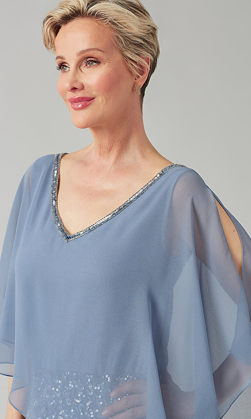 Image of short sequin MOB dress with attached capelet. Style: JKA-5235 Detail Image 4