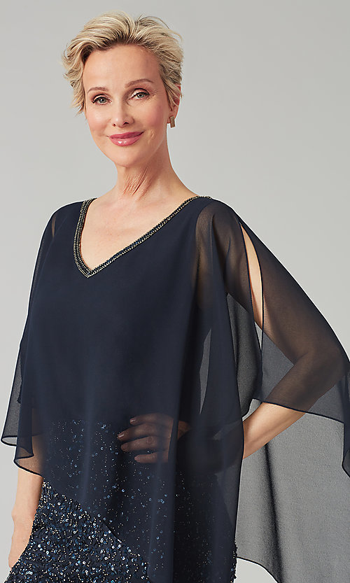 Image of short sequin MOB dress with attached capelet. Style: JKA-5235 Detail Image 7