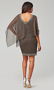 Image of attached-cape short mother-of-the-bride dress. Style: JKA-5090 Back Image