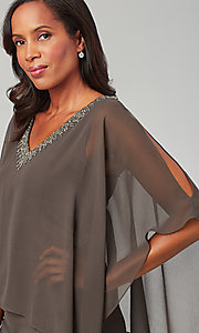 Image of attached-cape short mother-of-the-bride dress. Style: JKA-5090 Detail Image 2