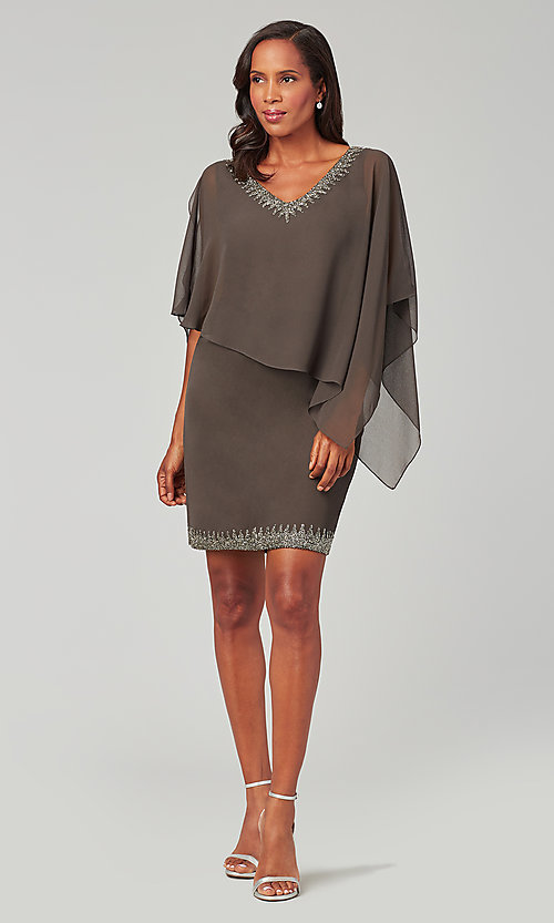 Image of attached-cape short mother-of-the-bride dress. Style: JKA-5090 Front Image