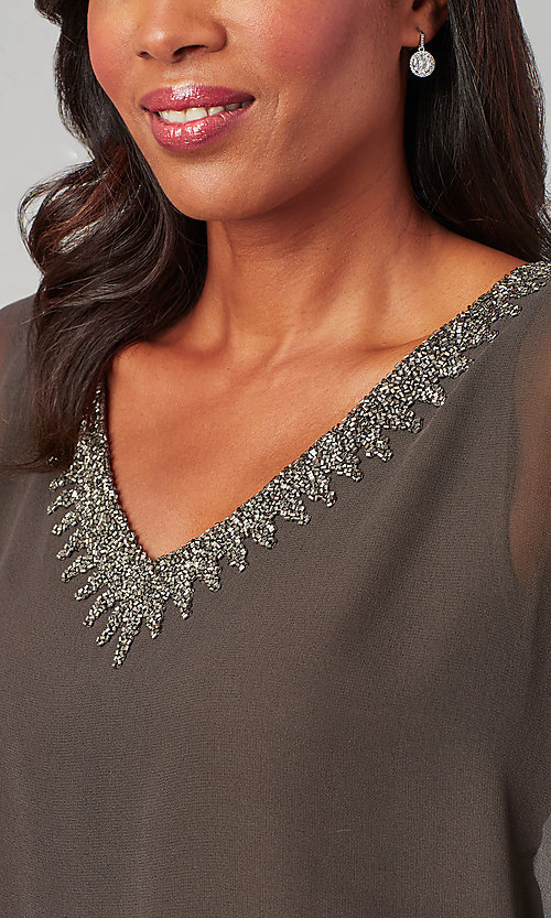 Image of attached-cape short mother-of-the-bride dress. Style: JKA-5090 Detail Image 1