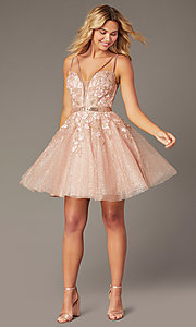 Image of short Jovani babydoll homecoming dress in blush. Style: JO-3654 Front Image