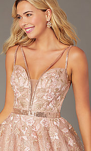 Image of short Jovani babydoll homecoming dress in blush. Style: JO-3654 Detail Image 1