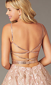 Image of short Jovani babydoll homecoming dress in blush. Style: JO-3654 Detail Image 2