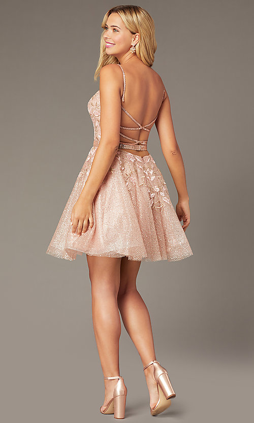 Image of short Jovani babydoll homecoming dress in blush. Style: JO-3654 Back Image