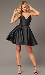 Image of short a-line homecoming dress from JVNX by Jovani. Style: JO-JVNX00384 Front Image