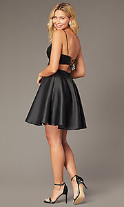 Image of short a-line homecoming dress from JVNX by Jovani. Style: JO-JVNX00384 Back Image