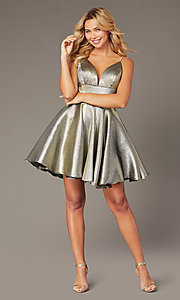 Image of short metallic fit-and-flare homecoming dress. Style: JO-JVN-JVN3782 Detail Image 5