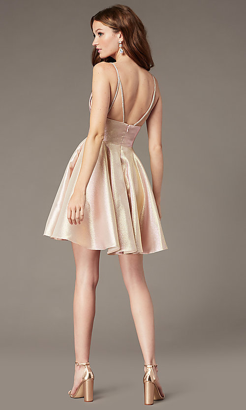 Image of short metallic fit-and-flare homecoming dress. Style: JO-JVN-JVN3782 Back Image
