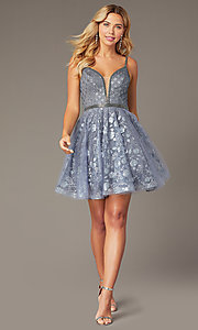 Image of babydoll-style homecoming dress with glitter. Style: JO-JVN-JVN4298 Detail Image 2