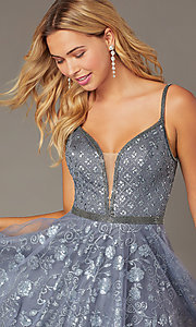 Image of babydoll-style homecoming dress with glitter. Style: JO-JVN-JVN4298 Detail Image 4