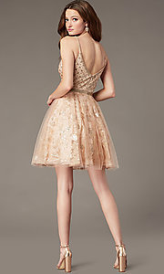 Image of babydoll-style homecoming dress with glitter. Style: JO-JVN-JVN4298 Back Image