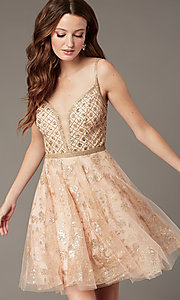 Image of babydoll-style homecoming dress with glitter. Style: JO-JVN-JVN4298 Front Image