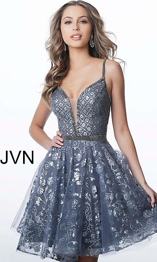 7a60eec88df2 Babydoll-Style Homecoming Dress with Glitter