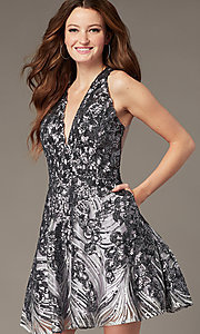 Image of short sequin fit-and-flare homecoming party dress. Style: JO-JVN-JVN66654 Front Image