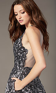 Image of short sequin fit-and-flare homecoming party dress. Style: JO-JVN-JVN66654 Detail Image 2
