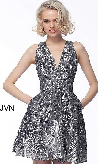 Short Sequin Fit-and-Flare Homecoming Dress