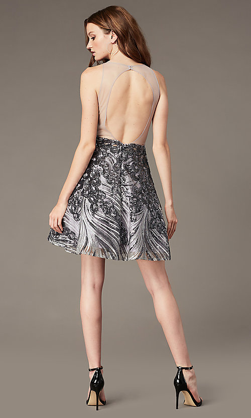 Image of short sequin fit-and-flare homecoming party dress. Style: JO-JVN-JVN66654 Back Image