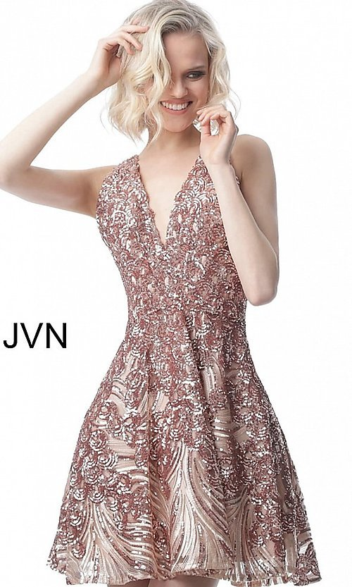 Image of short sequin fit-and-flare homecoming party dress. Style: JO-JVN-JVN66654 Detail Image 5