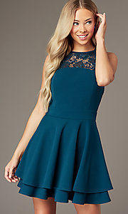 Image of short teal green party dress with glitter lace. Style: EM-HAJ-3546-350 Front Image