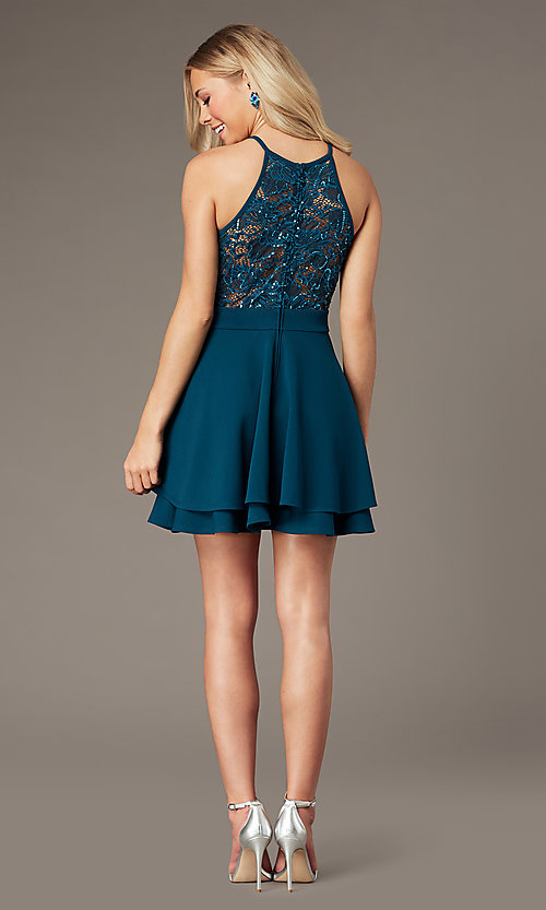 Image of short teal green party dress with glitter lace. Style: EM-HAJ-3546-350 Detail Image 2