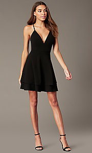 Image of short black homecoming party dress with lace back. Style: EM-FQP-3405-001 Front Image