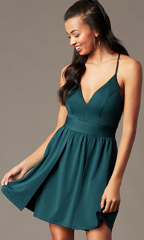 Image of short holiday party dress in spruce green. Style: EM-HNW-4285-387 Front Image