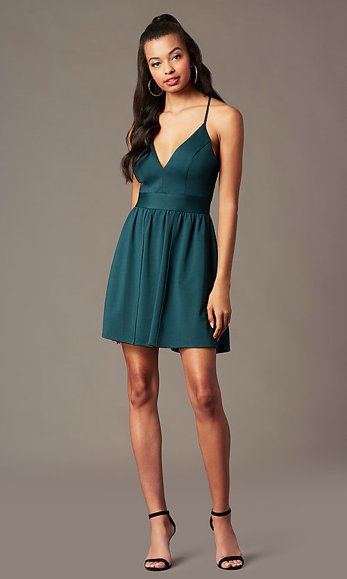 Image of short holiday party dress in spruce green. Style: EM-HNW-4285-387 Detail Image 1